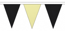 BLACK AND BEIGE TRIANGULAR BUNTING - 10m / 20m / 50m LENGTHS